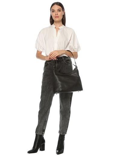 Divarese 5024771 Logolu Kadın Omuz Çantası Siyah